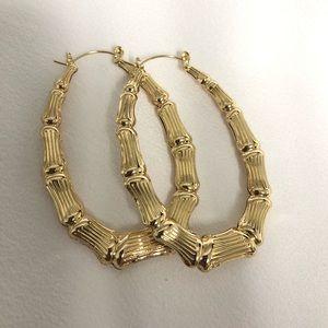 14k Gold Filled Oval Bamboo Hoop Earrings